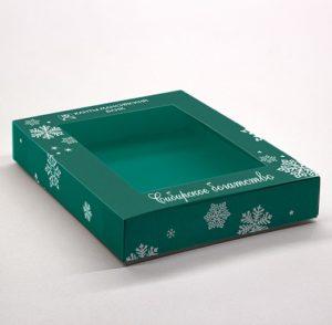 Коробка под подарок с прозрачным окном. Картон, офсетная печать, глянцевая ламинация, вырубка